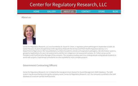 Screenshot of About Page regresearch.com - Center for Regulatory Research, LLC - captured July 20, 2017