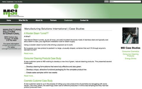 Screenshot of Case Studies Page packwithmsi.com - Manufacturing Solutions International   Case Studies - captured Oct. 3, 2014