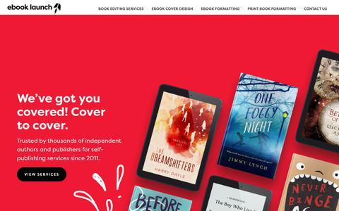 Screenshot of Home Page ebooklaunch.com - Professional Author Services: Book Cover Design and Ebook Formatting - captured Jan. 25, 2019