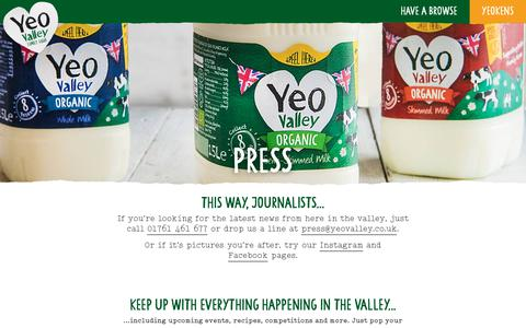Screenshot of Press Page yeovalley.co.uk - Press – Yeo Valley - captured Sept. 7, 2018