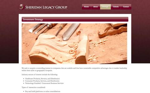 Screenshot of Services Page sheridanlegacy.com - Investment Strategy  | Sheridan Legacy Group - captured Oct. 7, 2014
