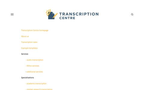 Screenshot of Site Map Page transcriptioncentre.co.uk - Site Map — Transcription Services UK | Transcription Centre - captured Sept. 21, 2018