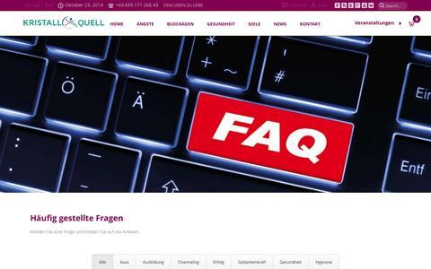 Screenshot of FAQ Page kristallquell.at - Häufig gestellte Fragen - Kristallquell > - captured Oct. 29, 2014