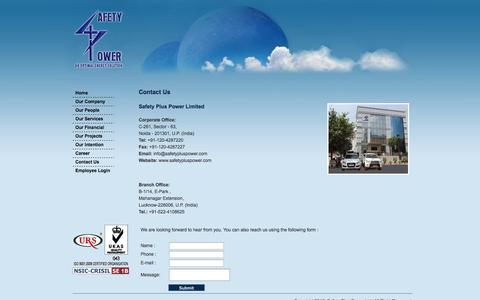 Screenshot of Contact Page safetypluspower.com - Safety Plus Power Ltd. - captured Oct. 3, 2014