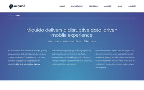 Screenshot of About Page miquido.com - About company | Miquido mobile apps development - captured Sept. 21, 2018