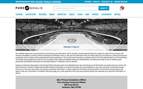 Screenshot of Privacy Page Terms Page purehockey.com - Our Policies   Pure Goalie - captured Dec. 9, 2017