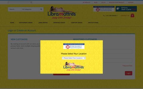 Screenshot of Login Page libramattres.com - Customer Login - captured Dec. 9, 2015