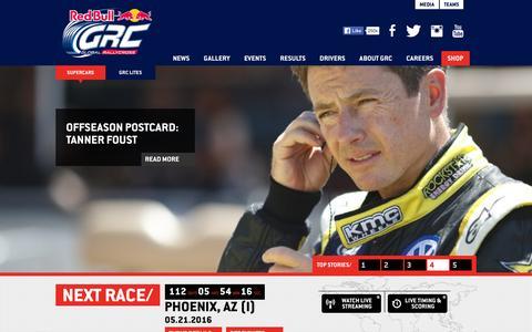Screenshot of Home Page redbullglobalrallycross.com - Red Bull Global Rallycross—Official Website - captured Jan. 29, 2016