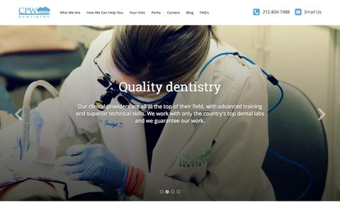 Screenshot of Home Page cpwdentistry.com - Central Park West Dentistry - captured Sept. 21, 2015