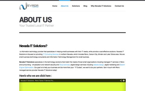 Screenshot of About Page nevadaitsolutions.com - About Us | - captured Oct. 1, 2014