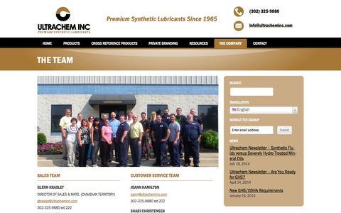 Screenshot of Team Page ultracheminc.com - The Team | Ultrachem Inc. - captured Oct. 9, 2014