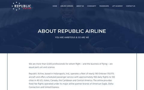 Screenshot of About Page rjet.com - About Republic Airline   Republic Airline - captured Sept. 23, 2018