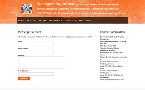 Screenshot of Contact Page webs.com - Morningstar Acquisitions LLC- Mergers Acquisitions Dispositions - Contact Us - captured Sept. 13, 2014