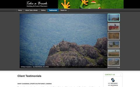 Screenshot of Testimonials Page takeabreak.in - Take a Break - Testimonials - captured Oct. 27, 2014
