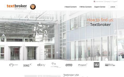 Screenshot of Contact Page textbroker.com - Contact | Textbroker - captured May 18, 2017