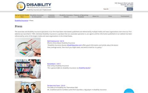 Screenshot of Press Page disabilityquotes.com - DisabilityQuotes.com Press - captured Oct. 12, 2017