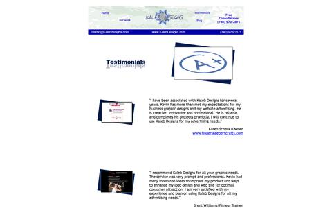 Screenshot of Testimonials Page kalebdesigns.com - Kaleb Designs | Newark, Ohio Web Design, Heath,Columbus - captured Sept. 30, 2014