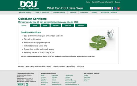 Quickstart Certificate | DCU | Massachusetts | New Hampshire