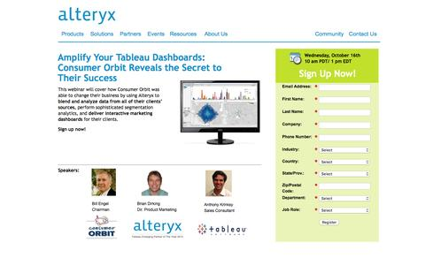 Screenshot of Landing Page alteryx.com - Amplify Your Tableau Dashboards:  Consumer Orbit Reveals the Secret to  Their Success - captured Feb. 22, 2016