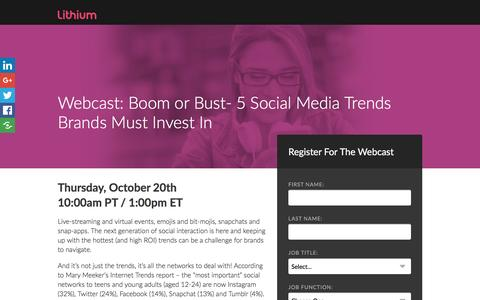 Screenshot of Landing Page lithium.com - Boom or Bust: 5 Social Media Trends Brands Must Invest In - captured Oct. 14, 2016