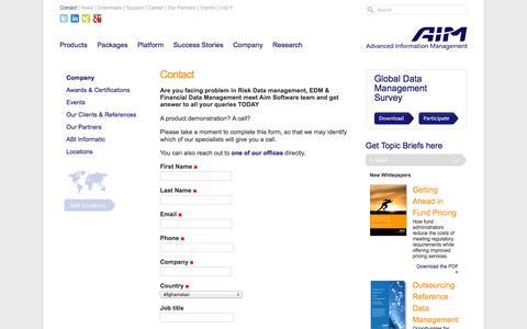Screenshot of Contact Page aimsoftware.com - Contact — AIM Software - captured Sept. 19, 2014
