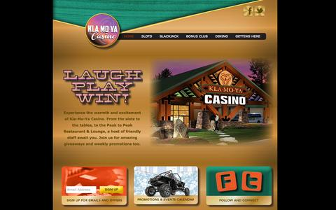 Screenshot of Home Page klamoyacasino.com - Klamoya Casino - Welcome! - captured Sept. 30, 2014