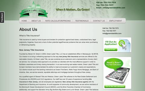 Screenshot of About Page greenlabeltitle.com - About Us | NJ Title Insurance Agency - captured Oct. 27, 2014