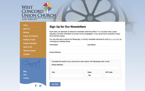 Screenshot of Signup Page westconcordunionchurch.org - Sign Up for a Newsletter | West Concord Union Church - captured Oct. 26, 2014