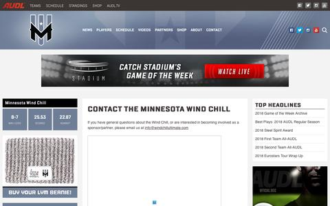 Screenshot of Contact Page theaudl.com - Minnesota Wind Chill Contact Us | AUDL - captured Oct. 21, 2018