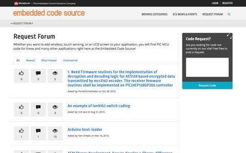 Screenshot of FAQ Page embeddedcodesource.com - Microchip Embedded Code Source - Default - captured May 4, 2017