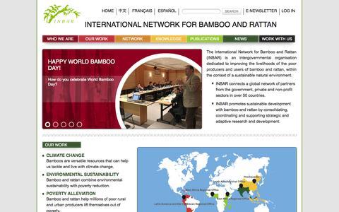 Screenshot of Home Page inbar.int - INBAR - International Network for Bamboo and Rattan - captured Oct. 6, 2014