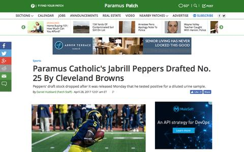 Screenshot of patch.com - Paramus Catholic's Jabrill Peppers Drafted No. 25 By Cleveland Browns - Paramus, NJ Patch - captured April 28, 2017