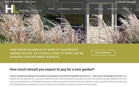 Screenshot of Pricing Page hollandscapes.co.uk - Landscaping Prices, Holland Landscapes, Colchester, Essex - captured Sept. 29, 2018