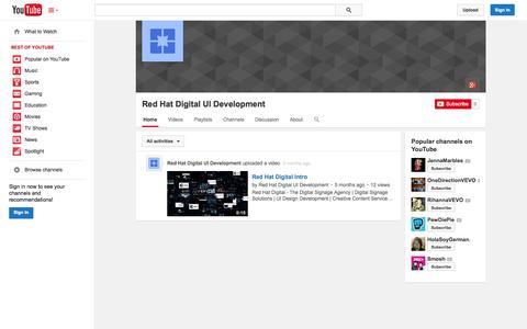 Screenshot of YouTube Page youtube.com - Red Hat Digital UI Development  - YouTube - captured Oct. 26, 2014