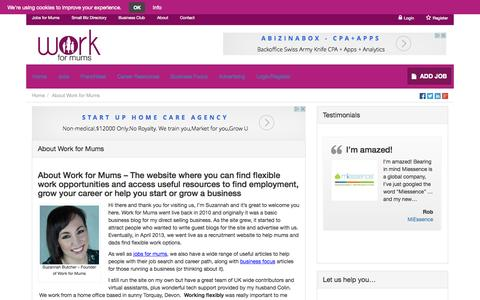 Screenshot of About Page workformums.co.uk - About Work for Mums - Our Vision & Mission - captured Oct. 22, 2015