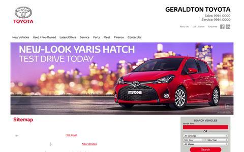 Screenshot of Site Map Page geraldtontoyota.com.au - Site Map » Geraldton Toyota - captured Oct. 28, 2014