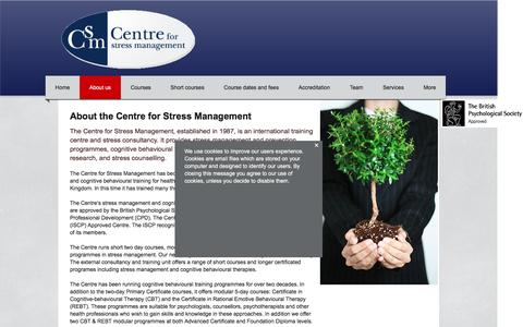 Screenshot of About Page managingstress.com - About the Centre for Stress Management - captured Nov. 1, 2016