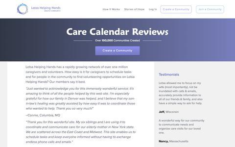 Screenshot of Testimonials Page lotsahelpinghands.com - Care Calendar Reviews | Lotsa Helping Hands - captured Nov. 4, 2018