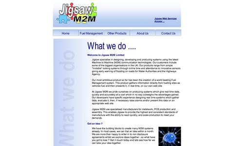 Screenshot of About Page jigsawm2m.com - Fuel Management System and Software Developer, Machine to Machine Communication Technology, UK - captured Oct. 6, 2014