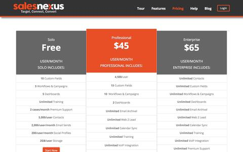 Screenshot of Pricing Page salesnexus.com - SalesNexus Pricing - Compare Options, Editions and Costs - captured Aug. 13, 2017