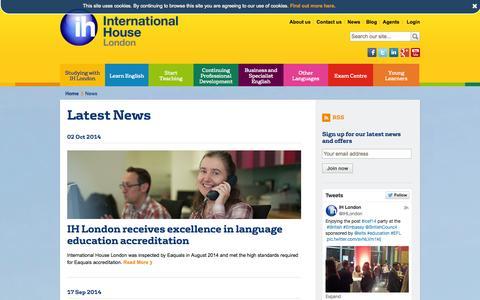 Screenshot of Press Page ihlondon.com - Latest News   International House London - captured Nov. 5, 2014