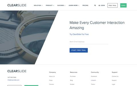 Screenshot of Trial Page clearslide.com - ClearSlide Free Trial - Start Improving Sales Now - captured May 26, 2018