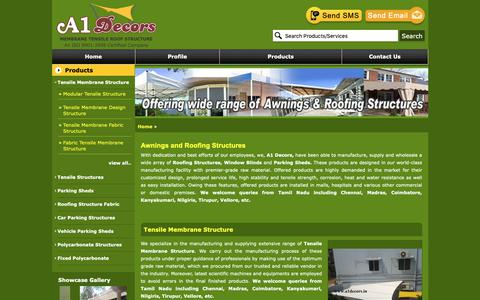 Screenshot of Products Page a1decors.in - Awnings and Roofing Structures | Wholesale Trader from Chennai - captured Dec. 14, 2018