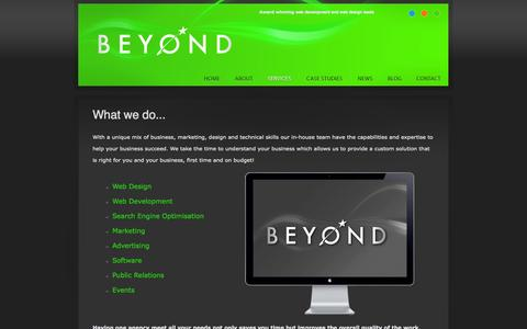 Screenshot of Services Page aplacebeyond.co.uk - Beyond Services - One agency for all your needs - captured Oct. 5, 2014