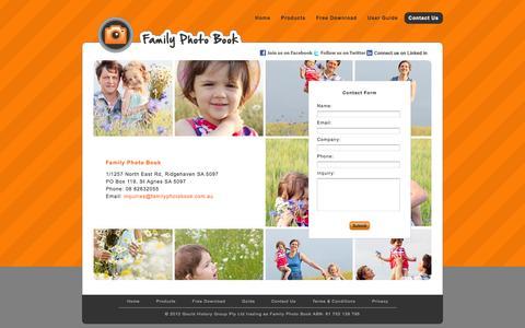 Screenshot of Contact Page familyphotobook.com.au - Family Photo Book - captured Sept. 30, 2014