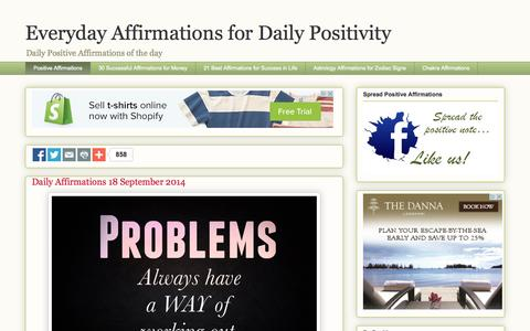 Screenshot of Home Page everydayaffirmations.org - Everyday Affirmations for Daily Positivity - captured Sept. 18, 2014