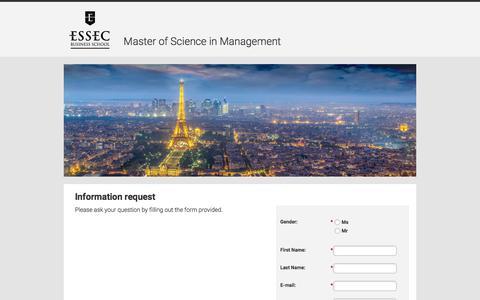 Screenshot of Landing Page essec.edu - ESSEC Business School - captured April 21, 2018