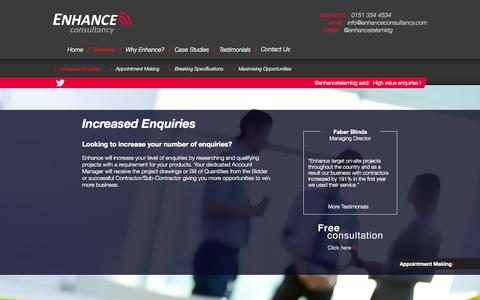Screenshot of Services Page enhanceconsultancy.com - Generating Enquiries | Enhance Consultancy - captured Oct. 3, 2014