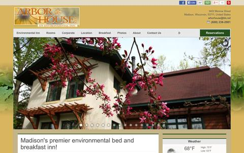 Screenshot of Home Page arbor-house.com - Bed and Breakfast hotel Madison, WI Arbor House, Environmental Inn - captured June 20, 2015