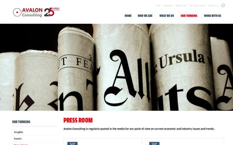 Screenshot of Press Page consultavalon.com - Press Room | Avalon Consulting - captured Oct. 4, 2014